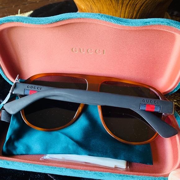 Authentic GUCCI 59mmPilot Acetate logo sunglasses